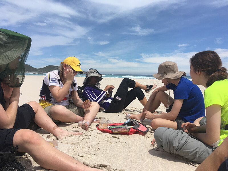 Nov 19 Teen trek lunch on Conspicuous Cliffs Beach South west coast WA