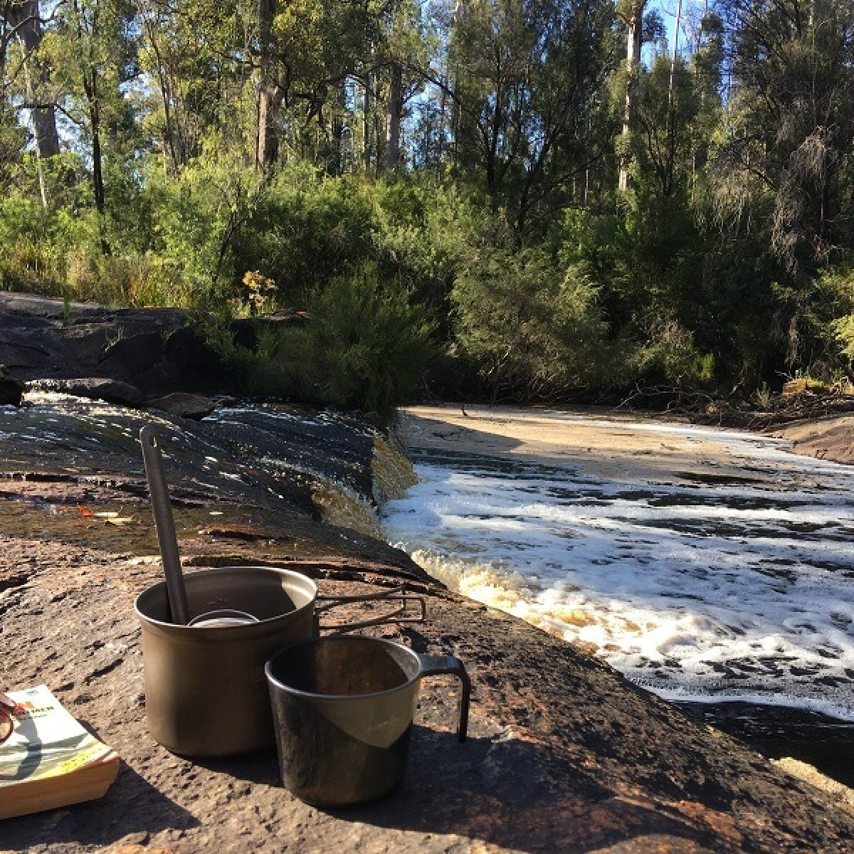 Cup of tea on bank of Dog Pool River Bibbulmun Track