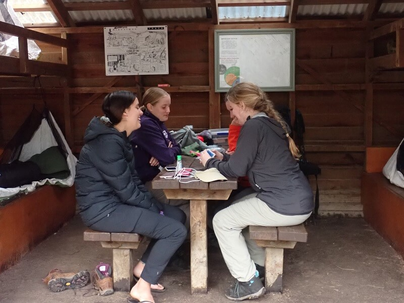 Playing cards at the end of the trekking day